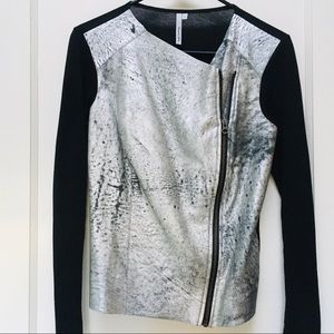 MICHAEL STARS Silver and Black Leather Jacket